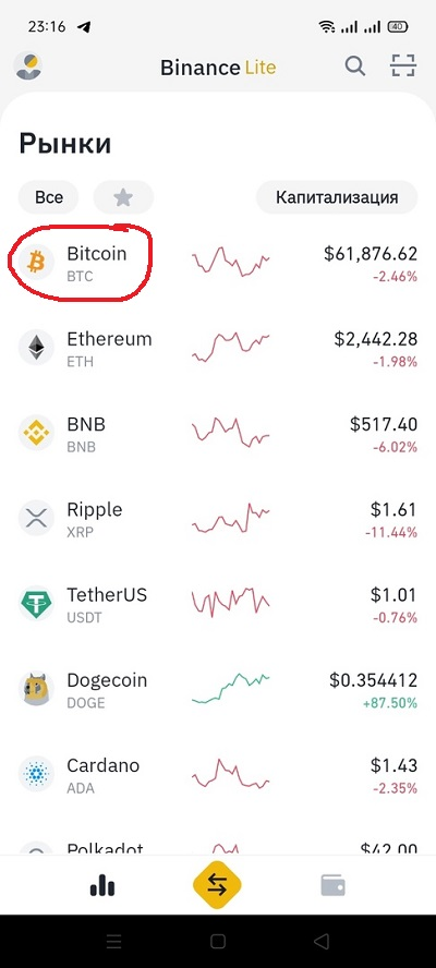 Bitcoin (BTC) на Бинан� - покупка по карте