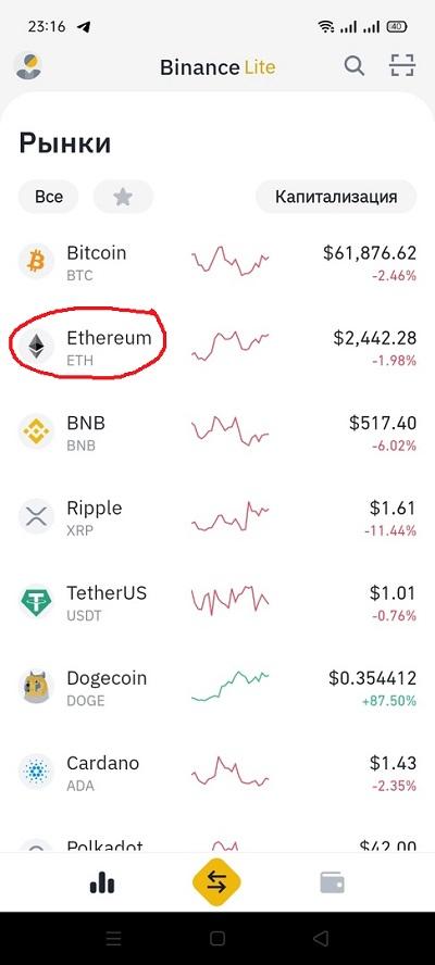 Ethereum (ETH) на Бинан� - покупка за рубли